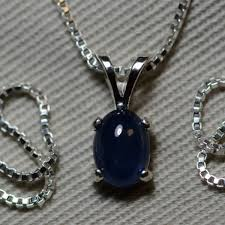 sapphire necklace blue sapphire cabochon pendant 1 28 carat appraised at 550 00 september birthstone genuine sapphire sterling silver
