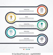Road Infographic Timeline Concept With 5 Options Vector Layout