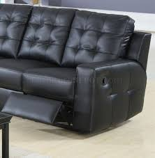 black bonded leather double reclining modern sectional sofa