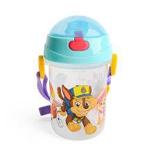 kidztime x children toddler bpa free cartoon character water bottle with drinking straw cap for kids