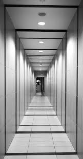 hallway vanishing point. walkway line hall indoor empty professional door modern futuristic interior design symmetry hallway corridor nobody vanishing point
