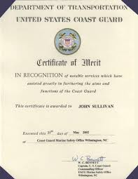 marine engineer john sullivan awarded the coast guard certificate  the commanding officer of the united states coast guard marine safety office in wilmington n c takes great pleasure in presenting the coast guard