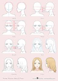 anime woman drawing 8 steps