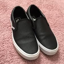 black leather slip on vans mens 6 5 womens 8 m 563f6c81680278b4018e72