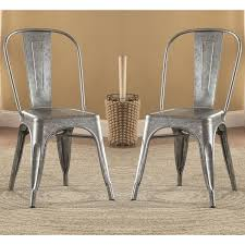vintage metal dining chairs. Simple Chairs Vintage Distressed Rustic Galvanized Metal Dining Chairs Set Of 4 On A
