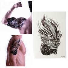3d Carp Lotus Vodotěsné Tělo Umění Jednorázové Dočasné Tetování Samolepka