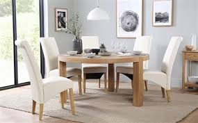 table 6 chairs. brighton round oak dining table - with 6 richmond cream chairs