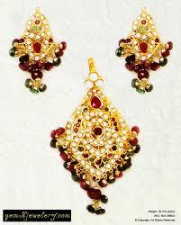 indian handcrafted royal jadau pendant set