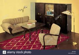 german living room furniture. stock photo furniture livingroom upholstery germany circa 1956 1950s 50s 20th century historic historical arm chair armchair fa german living room b