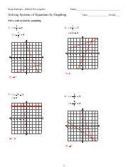 We have thus arrived at precisely the same answer as in the graphic solution. Systems Of Equations By Graphing Kuta Software Infinite Pre Algebra Name Solving Systems Of Equations By Graphing Date Period Solve Each System By Course Hero