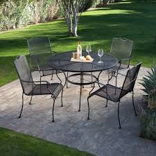5 piece wrought iron patio furniture dining set seats 4 black coffee table wds4s
