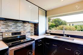 Black And White Modern Kitchen Black And White Modern Kitchen Room With Multi Color Backsplash
