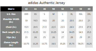 Adidas Mens Jersey Size Chart Size Chart Nhl Jersey For Nhl Fans Officially Licensed