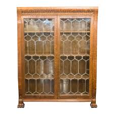 yes antique oak leaded glass door bookcase paw carved feet