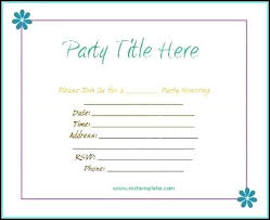 Party Invitation Template Word Free Birthday Party Card Template