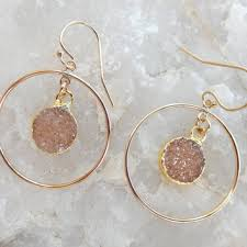 champagne druzy earrings gold chandelier drusy hoop quartz cryst