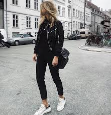 how to wear black er jacket with black skinnies and white sneakers 2019