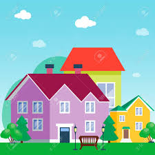 Vector City With Cartoon Houses And Buildings City Space With