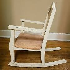 original antique child s rocking chair wood 1900 s padded upholstered seat