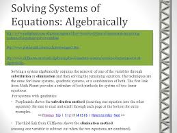 solving systems of equations algebraically