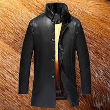 2017 new long real fur collar mens winter leather jackets high quality fox fur lining mens coat