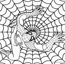 Spiderman on spider webs coloring page : Printable Spiderman Coloring Pages For Kids