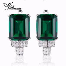 brand 6ct emerald clip earring 100 solid 925 sterling silver earring aliexpress unique fine jewelry