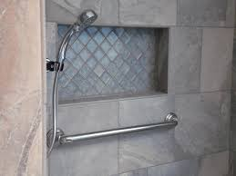 bathroom niches:  tile shower niche with glass
