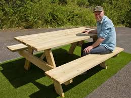 outdoor picnic table with attached benches treated timber