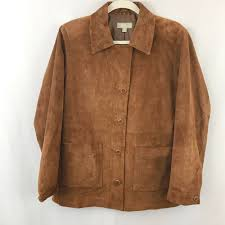 details about the territory ahead womens on up suede leather jacket washable brown sz m