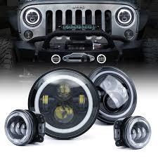 3 75 Fog Lights Jeep Jk Jku Halo Led Headlights Fog Lights Combo