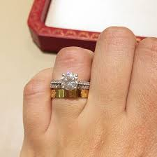 cartier wedding rings. engagement ring with cartier love ring as wedding band wedding
