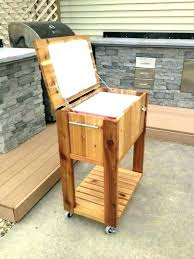 outdoor wooden cooler ice st patio rolling cedar wood support chairs with cart