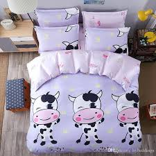 cute cow bedding sets cartoon comforter set single double queen king size duvet cover sheet whole bed sheets twin