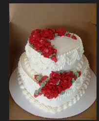 Red And White 2 Tier Heart Shape Love Cake With Red Roses Shape