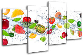 multi color on wall art pictures of food with fresh fruits splash food kitchen multi canvas wall art picture print