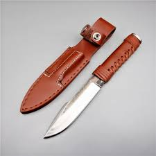 handmade high carbon steel hunting knife fixed blade knife leather handle