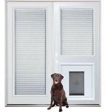exterior door with window and dog door. patio french back doors with internal mini-blinds and pet doggy door insert pre- exterior window dog o