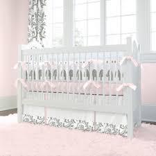 pink and gray elephants 2 piece crib bedding set