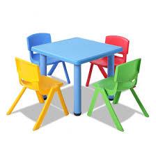 keezi kids table and chair set children study desk furniture plastic blue 5pc