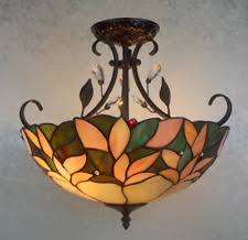 Stained Glass Ceiling Light Tiffany Leaf Style With Beads Crystals Kitchen  Lamp