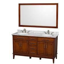 Wyndham Hatton Double 60 Inch Transitional Bathroom Vanity Light Chestnut