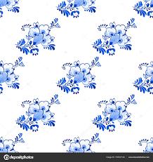 Behang Delfts Blauw Elegant Delft Blauwe Stijl Aquarel Naadloze