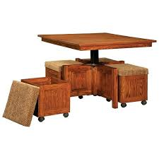 5 square coffee table and bench set wood slat