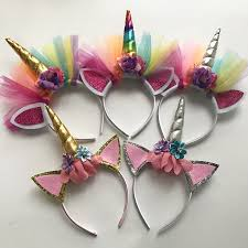 10 pcs glitter unicorn horns headbands for girls and kids 2017 felt padded unicorn headband hair