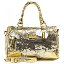 Coach Poppy East West In SequIn Signature Large Gold Satchels AEC