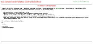 Taxi Driver Work Experience Certificate Experience Letters