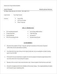 Sample High Scho Good Sample High School Resumes Free Career