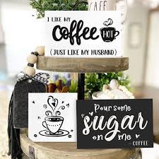 Rae dunn $20 $24 16% off. Amazon Com Huray Rayho Coffee Tiered Tray Decor Rustic Coffee Bar Signs Farmhouse Rae Dunn For Fun Kitchen Collection Coffee Station 3d Signs Muglife Home Kitchen