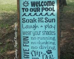 Swimming Pool Decor Signs WELCOME To Our POOL Rustic Distressed Pool RULES Wood Sign 75